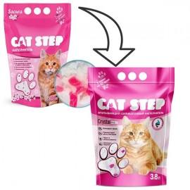 Cat Step Crystal Pink - розовый силикагелевый наполнитель для кошек, 3,8л.