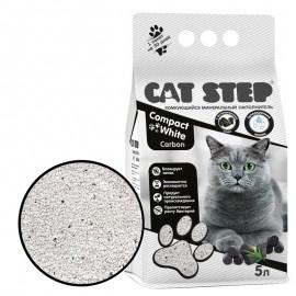 Cat Step Compact White Carbon Наполнитель комкующийся минеральный(5 л)