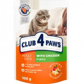 Корм Club 4 Paws для взрослых кошек курица в соусе, 100гр