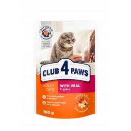 Корм Club 4 Paws для взрослых кошек Телятина в соусе, 100гр