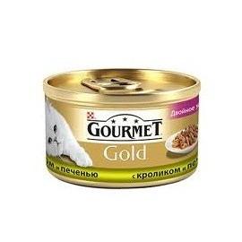 """Консервы для кошек Gourmet """"Gold"""" с кроликом и печени, 85г"""