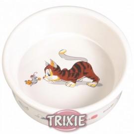 """4007 Миска """"TRIXIE"""", керамическая, для кошек с изображением 0,2л/диам.11см"""
