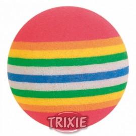 """4097 Игрушка """"TRIXIE"""" для кошки каучукавая, мячик радужный,диам.3,5см (4шт)"""