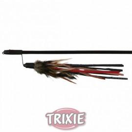 """4550 Дразнилка """"TRIXIE"""" для кошки с пером и кожанными полосками, 50см"""