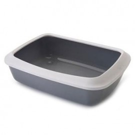 "026300WG Туалет ""SAVIC"" ""Isis 42"" со съёмным ободом для кошек, 42х31х12.5см, серый, белый, пластик"