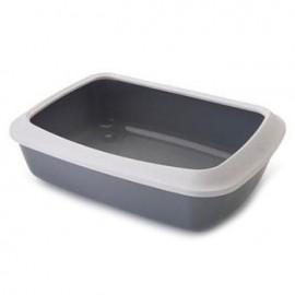 "026300WG Туалет ""SAVIC"" ""Iriz 42"" со съёмным ободом для кошек, 42х31х12.5см, серый, белый, пластик"
