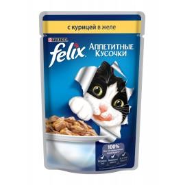 FELIX влажный корм c курицей в желе для взрослых кошек (упаковка 24 штуки по 85г)
