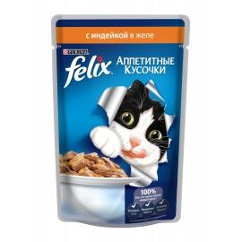 FELIX влажный корм с индейкой в желе для взрослых кошек (упаковка 24 штуки по 85г)