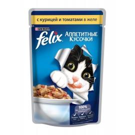 FELIX влажный корм с курицей и томатами в желе для взрослых кошек (упаковка 24 штуки по 85г)