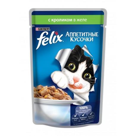 FELIX влажный корм с кроликом в желе для взрослых кошек (упаковка 24 штуки по 85г)