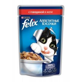 FELIX влажный корм с говядиной в желе для взрослых кошек (упаковка 24 штуки по 85г)
