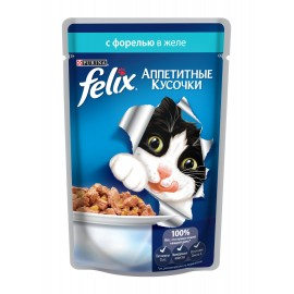 FELIX влажный корм с форелью в желе для взрослых кошек (упаковка 24 штуки по 85г)