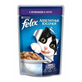 FELIX влажный корм с ягнёнком в желе для взрослых кошек (упаковка 24 штуки по 85г)