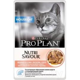 Пресервы Pro Plan NUTRI SAVOUR Housecat - для домашних кошек с лососем в соусе (упаковка 24 штуки по 85г)