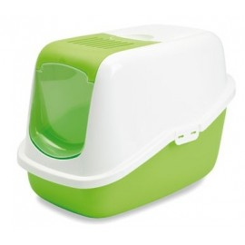 "022700WL Туалет-домик ""SAVIC"" ""Nestor"" для кошек, 56х39х38,5см,белый/салатовый, пластик"