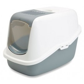 "022700WG Туалет-домик ""SAVIC"" ""Nestor"" для кошек, 56х39х38,5см,белый/серый, пластик"