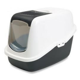 "022700WZ Туалет-домик ""SAVIC"" ""Nestor"" для кошек, 56х39х38,5см,белый/черный, пластик"
