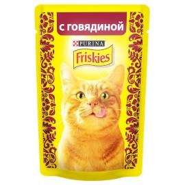 FRISKIES влажный корм c говядиной в подливе для взрослых кошек (упаковка 24 штуки по 85г)