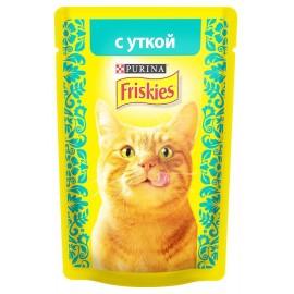 FRISKIES влажный корм c уткой в подливе для взрослых кошек (упаковка 24 штуки по 85г)