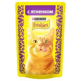 FRISKIES влажный корм c ягнёнком в подливе для взрослых кошек (упаковка 24 штуки по 85г)