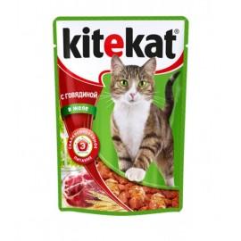 Пресервы Kitekat с говядиной в желе (упаковка 24 штуки по 100г)