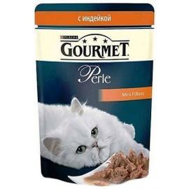 GOURMET Perle Индейка Мини-филе в подливке, для кошек (85 г)