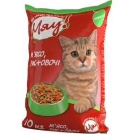 Мяу! сухой корм для кошек с мясом, рисом и овощами
