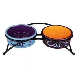 """24791 Миска """"TRIXIE"""" керамическая, для кошек, """"Eat on Feet"""" с подставкой, 0.3л/диам.12см"""