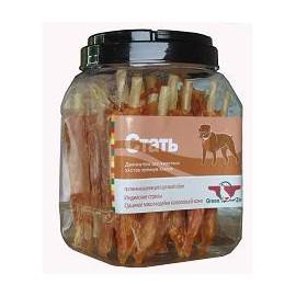 Green Qzin СТАТЬ (сушеное мясо индейки на воловьей коже), 750г