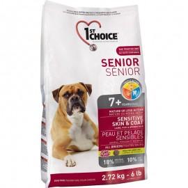 1st Choice Senior Sensitive Skin & Coat - корм для собак старше 7 лет с чувствительной кожей и шестью (ягнёнок и рыба)