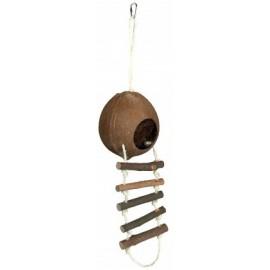 """62102 Домик """"TRIXIE"""" для грызунов, из кокосовой скорлупы с лестницей, диам.13х56 см"""