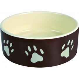 """24532 Миска """"TRIXIE"""" керамическая для собак с рисунком лапка, 0,8л/диам.16см.коричневая/кремовая"""
