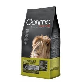 Optima Nova Hairball Chicken&Rice - сухой корм для кошек для выведения комков шерсти с курицей и рисом