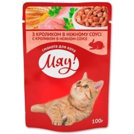 """""""Мяу !"""" влажный корм для кошек с кроликом в нежном соусе, 100г"""