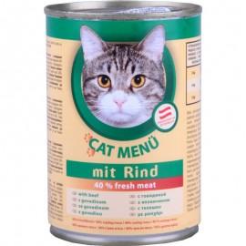 CAT Menu полнорационный консервированный корм для кошек, с говядиной (40 штук по 415г.)