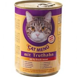 CAT Menu полнорационный консервированный корм для кошек, с домашней птицей (40 штук по 415г.)