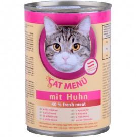 CAT Menu полнорационный консервированный корм для кошек, с курицей (40 штук по 415г.)