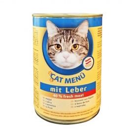 CAT Menu полнорационный консервированный корм для кошек, с печенью (40 штук по 415г.)