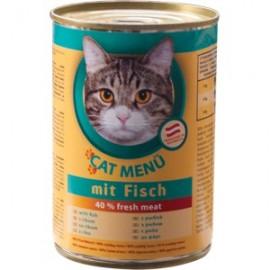 CAT Menu полнорационный консервированный корм для кошек, с рыбой (40 штук по 415г.)
