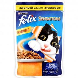 FELIX SENSATIONS влажный корм с курицей и морковью в желе для взрослых кошек (упаковка 24 штуки по 85г)