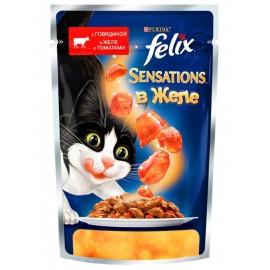 FELIX SENSATIONS влажный корм с говядиной и томатами в желе для взрослых кошек (упаковка 24 штуки по 85г)