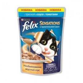 FELIX SENSATIONS влажный корм с треской и томатами в соусе для взрослых кошек (упаковка 24 штуки по 85г)