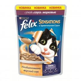 FELIX SENSATIONS влажный корм с уткой и морковью в соусе для взрослых кошек (упаковка 24 штуки по 85г)