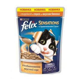 FELIX SENSATIONS влажный корм с индейкой и беконом в соусе для взрослых кошек (упаковка 24 штуки по 85г)