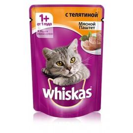 Пресервы Whiskas паштет с телятиной для взрослых кошек, упаковка 24 штуки по 85г