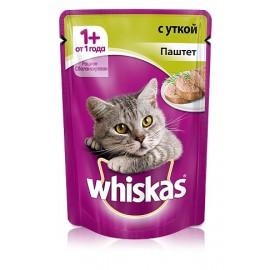 Пресервы Whiskas паштет с уткой для взрослых кошек, упаковка 24 штуки по 85г