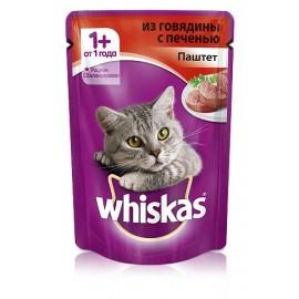 Пресервы Whiskas паштет с говядиной и печенью для взрослых кошек, упаковка 24 штуки по 85г