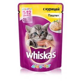 Пресервы Whiskas паштет с курицей для котят, упаковка 24 штуки по 85г