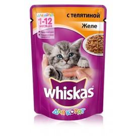 Пресервы Whiskas желе с телятиной для котят, упаковка 24 штуки по 85г