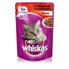 Пресервы Whiskas с говядиной и ягнёнком в желе для взрослых кошек, упаковка 24 штуки по 85г